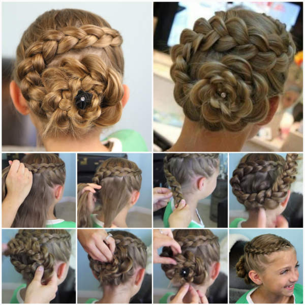 Flower Braid Undo Hairstyle Girl